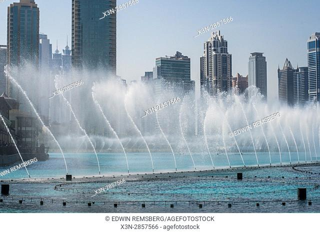Dubai; United Arab Emirates - Lines of water from water fountain in the city of Dubai