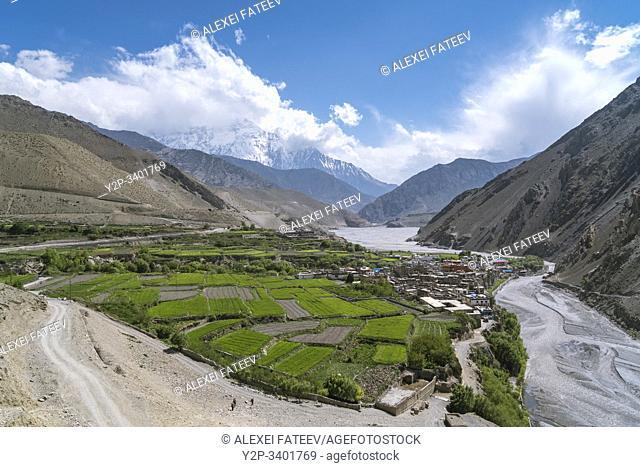 Panoramic view of Kagbeni village in Mustang district, Nepal