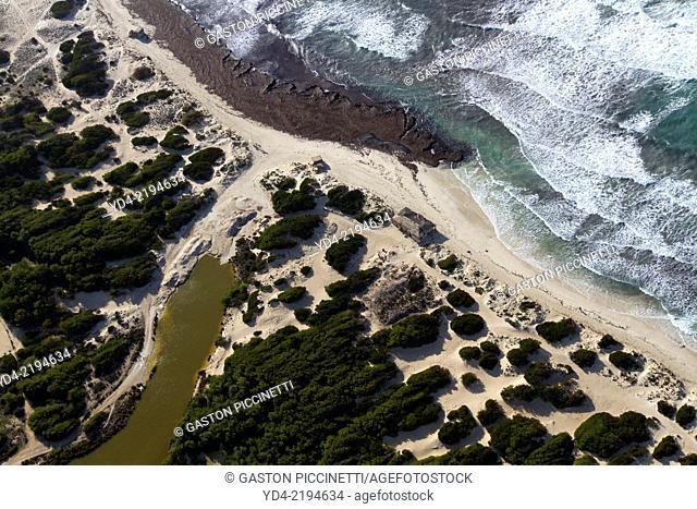 Aerial View of Platja des Trenc, Colonia Sant Jordi, Mallorca, Balearic Islnd, Spain