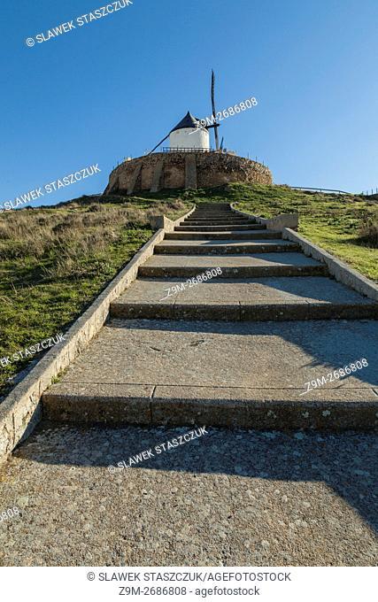Historic white windmill in Consuegra, Toledo province, Castilla-La Mancha, Spain