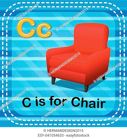illustration of Flashcard letter C is for chair