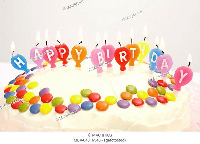 birthday cake, candles, writing, Happy Birthday, chocolate lentils