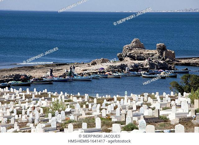 Tunisia, Mahdia, cemetary and fishing port