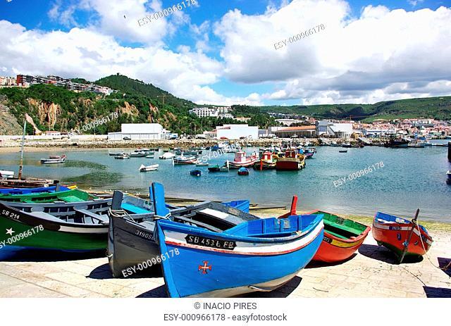 Boat at Sesimbra bay, Portugal