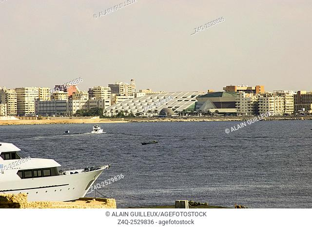 Egypt, Alexandria, view on the Bibliotheca Alexandrina, from QaytBay
