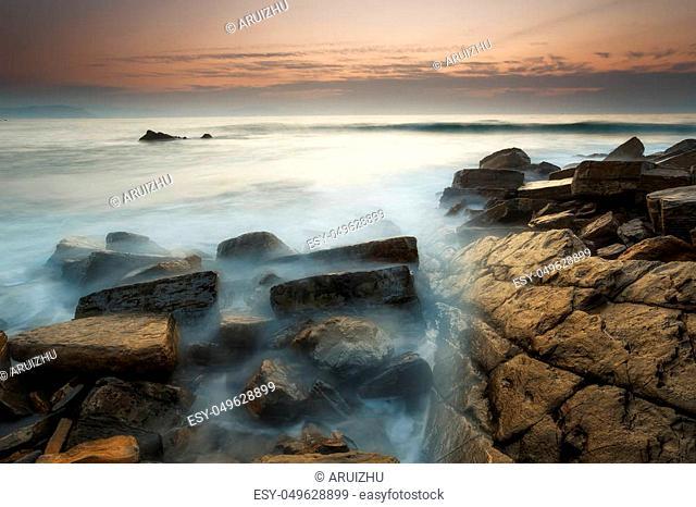Sunset at Barrika beach