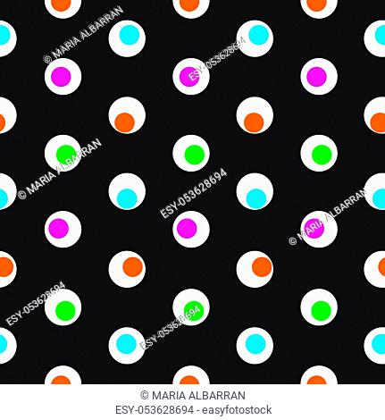 Color polka dot abstract seamless pattern on a dark background. Vector illustration