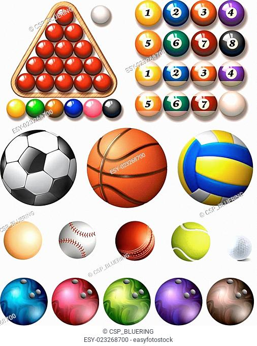 Different kind of balls of many sports