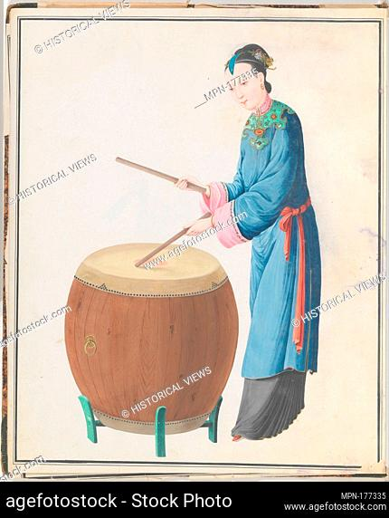 Watercolor of musician playing jingu. Date: late 18th century; Geography: China; Culture: Chinese; Medium: Watercolor on paper; Dimensions: Overall: 43