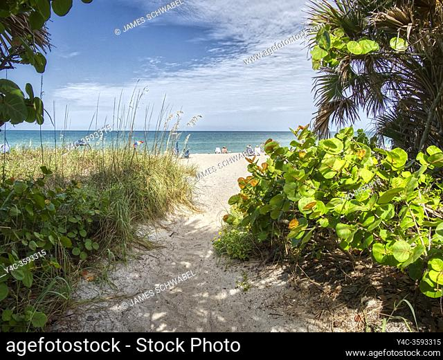 Path to Manasota Beach on the Gulf of Mexico on Manasota Key in Englewood Florida United States
