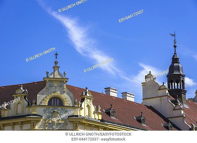 Klatovy, Czech Republic - Corner gable on the roof of a historic building in the Old Town. Klattau (Klatovy), Tschechien - Eckgiebel auf dem Dach eines...
