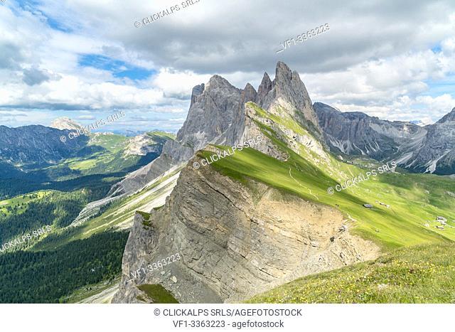 Seceda peaks in summer. Ortisei, Bolzano province, Trentino Alto Adige, Italy