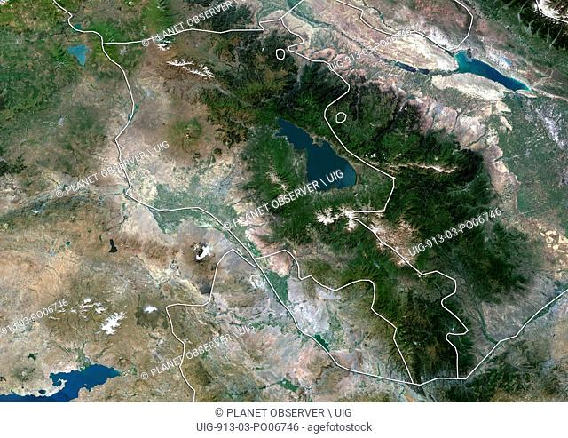 Satellite view of Armenia (with country boundaries). This image was compiled from data acquired by Landsat 8 satellite in 2014