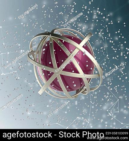 3d abstract. Sphere of multicolored rings in cloud from multicolored drops on gray background. 3D rendering