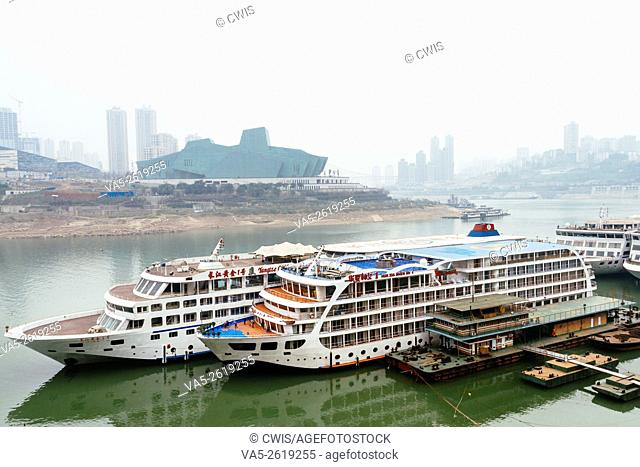 Chongqing, China - The view of Chaotianmen wharf, one of the most importent wharf of Changjiang river