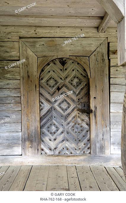 Door detail, traditional Latvian barn from the Kurzeme region, Latvian Open Air Ethnographic Museum Latvijas etnografiskais brivdabas muzejs, near Riga, Latvia