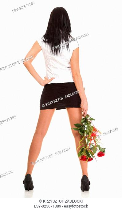 beautiful young girl posing with a red rose woman isolated on white background