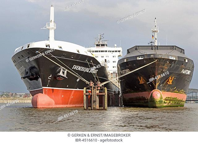 Ships riding at anchor in the harbor in the Norderelbe, Hamburg, Germany