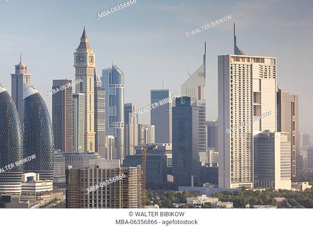 UAE, Dubai, Downtown Dubai, Downtown hi rise buildings, elevated view