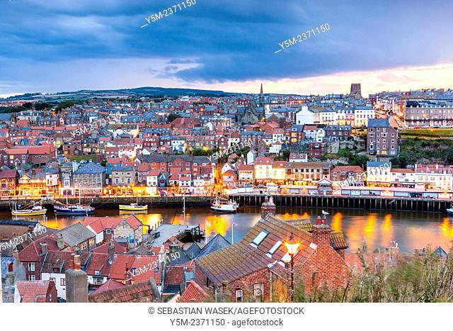 View of Whitby harbour and town, North Yorkshire, England, United Kingdom, Europe