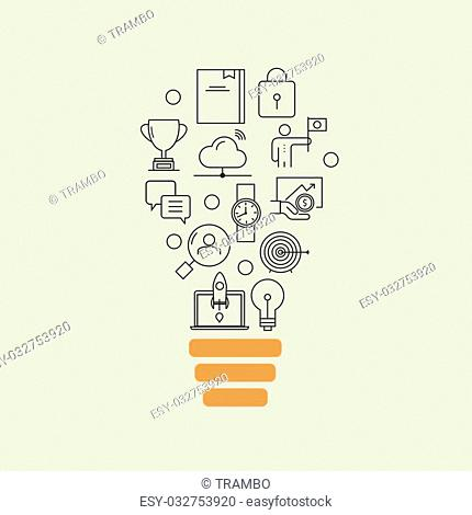 Vector modern thin line flat design of icons set. Business development, successful career, office idea background