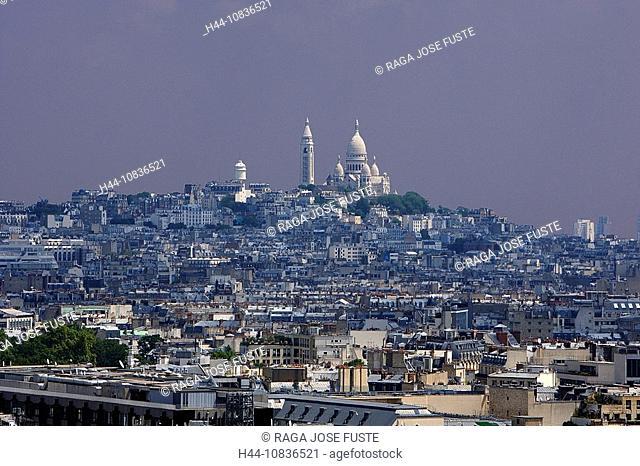 France, Europe, Paris, city, Montmartre District, Basilique du Sacre-Coeur, basilica, hill, overview, high angle, over