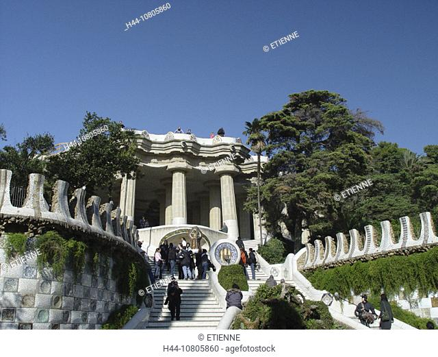 Barcelona, columns, Gaudi, ceramics, mosaic, park Guell, sculpture, Spain, Europe, stair, well