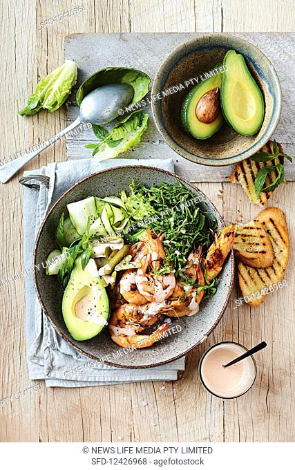 Prawn cocktail with avocado, zucchini and lettuce