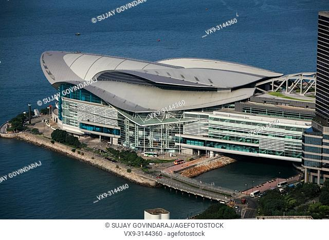 Hong Kong, China - September 25, 2009: High angle view of a stylish architectural work or a modern building in Hong Kong