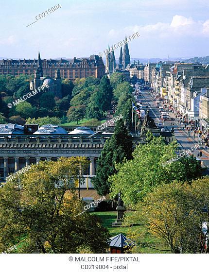 Princes Street and Princes Street Gardens. Edinburgh. Scotland
