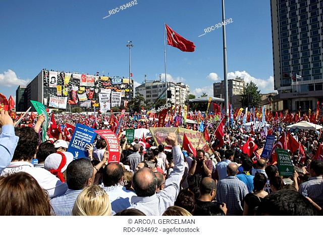 ISTANBUL - TURKEY,JUNE, 29. People in peaceful protest in Taksim square on June, 29, 2013. Protests started in Turkey on 28 May 2013