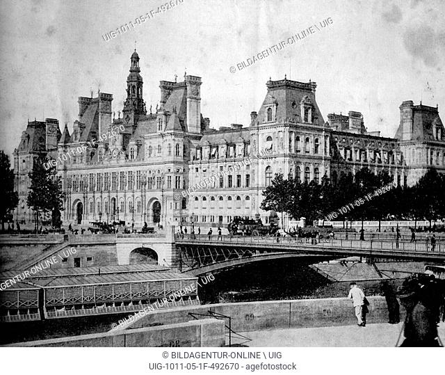 One of the first autotype photographs of hotel de ville, city hall, paris, france, circa 1880