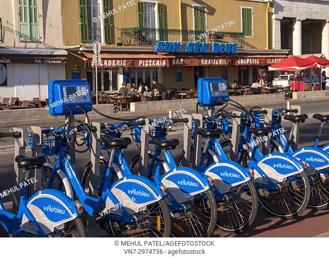 Blue bikes for hire - Nice, France