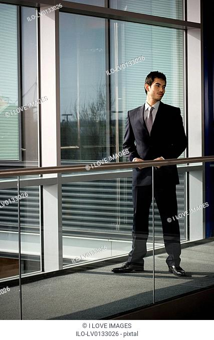 Young businessman in modern office building