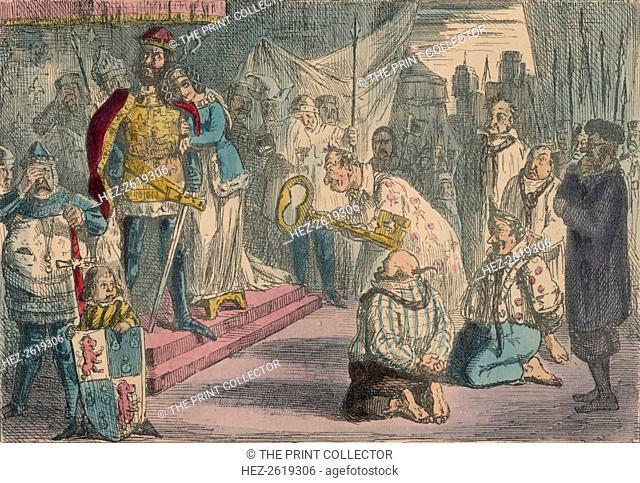 Queen Philippa interceding with Edward III for the Six Burgesses of Calais, 1850. Artist: John Leech