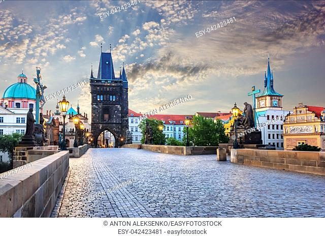 Old Town Tower and Charles Bridge under the thunderclouds