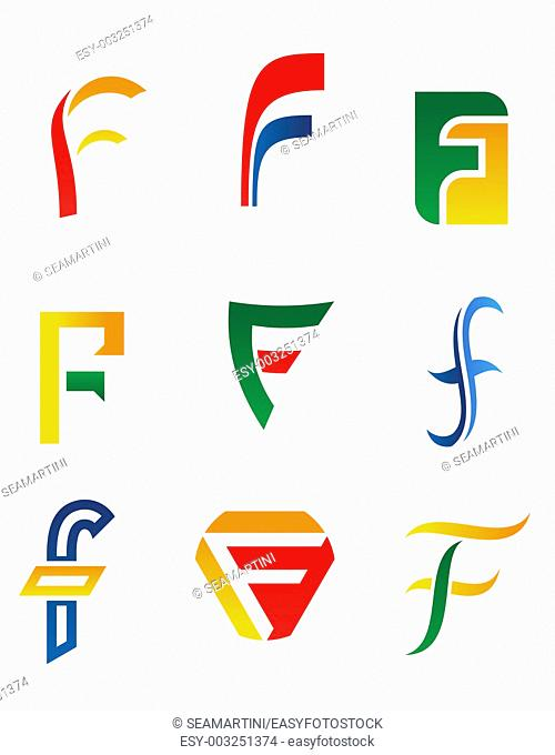 Set of alphabet symbols and icons of letter F