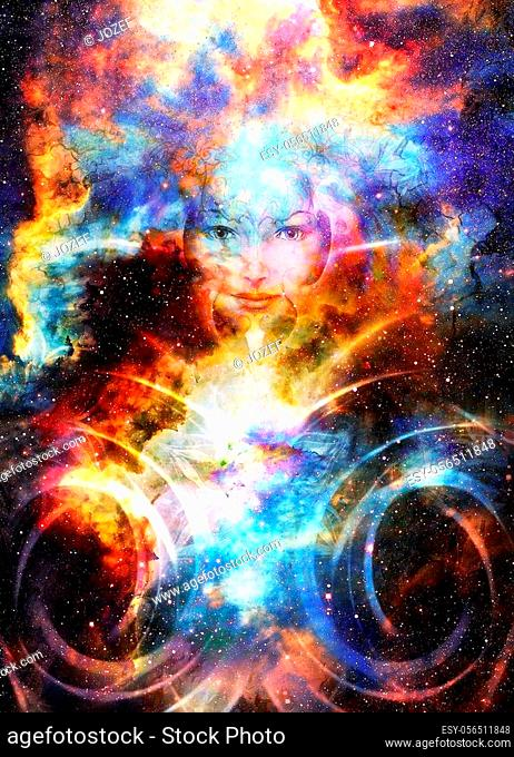 Goddess Woman and light circle in Cosmic space. Cosmic Space background. eye contact