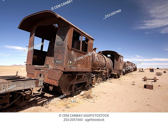 Train cemetery, Salar de Uyuni or Salt desert of Uyuni, Southern Altiplano, Bolivia, South America