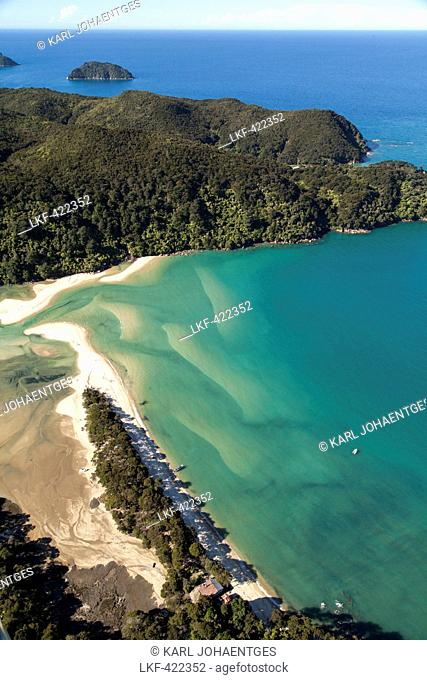 Aerial view of the Awaroa Inlet, turquoise colour of the sea, Abel Tasman National Park, Tasman District, South Island, New Zeal