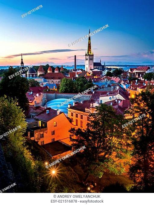 Aerial View of Tallinn Old Town in the Evening, Tallinn, Estonia