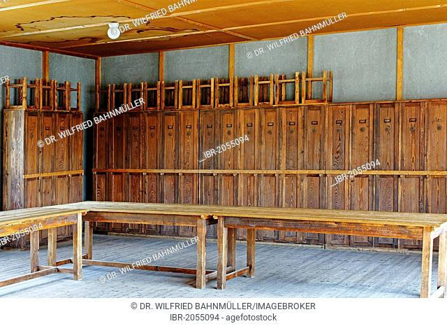 Living room with locker cupboards for prisoners, Dachau concentration camp, Upper Bavaria, Bavaria, Germany, Europe
