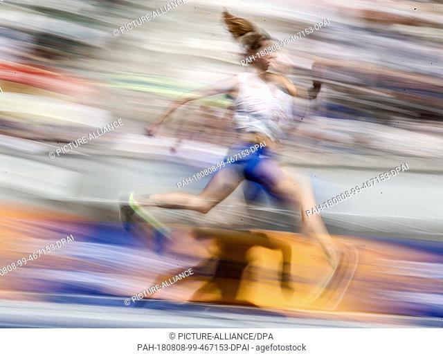 08.08.2018, Berlin: Track and Field: European Championship, triple jump; Women: Hanna Minenko from Israel takes the three-jump attempt