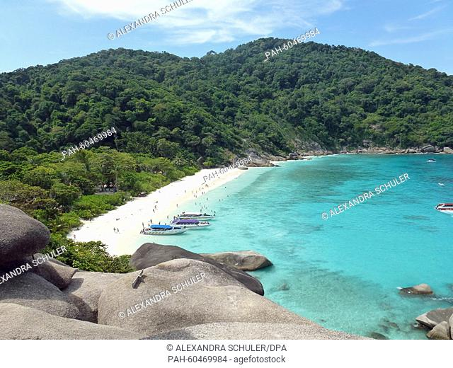Aview of Ao Kuerk cove on Koh Similan island, Thailand, 10 March 2015. Koh Similan is one of the Similan Islands, a group of nine islands in the Andaman Sea