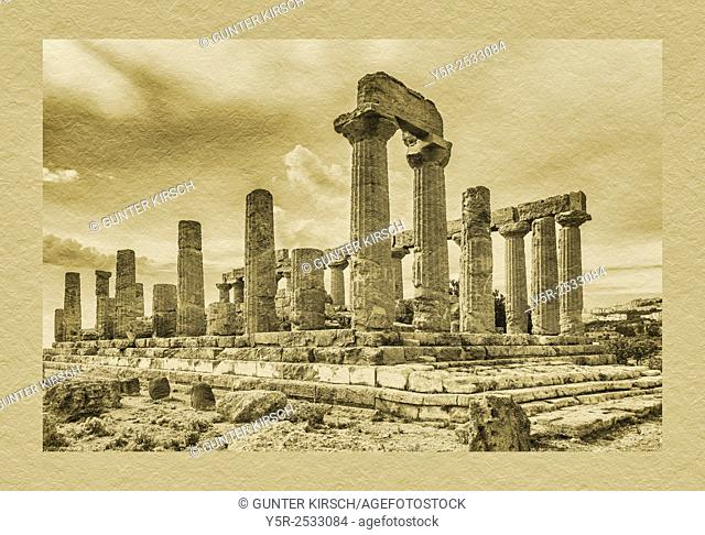 The Temple of Juno, Tempio di Hera, was built about 460 to 450 BC. The temple belongs to the archaeological sites of Agrigento