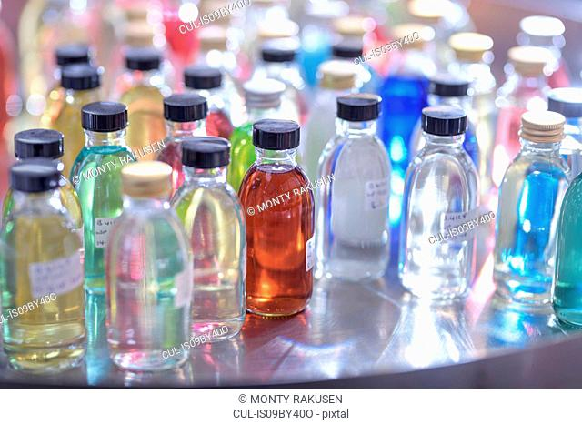 Sample product bottles in chemical factory