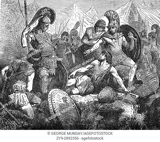 "The death of Codros, the last of the semi-mythical Kings of Athens (1089â. ""1068 BC). During the time of the Dorian Invasion of Peloponnesus"