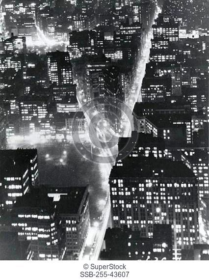 USA, New York State, New York City, Manhattan, Times Square, Aerial view of buildings in city lit up at night
