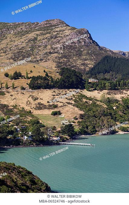 New Zealand, South Island, Christchurch-Rapaki, view of Rapaki Bay