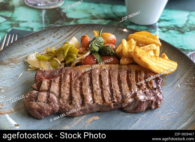 Grilled Sirloin Steak with vegetable salad on blue plate